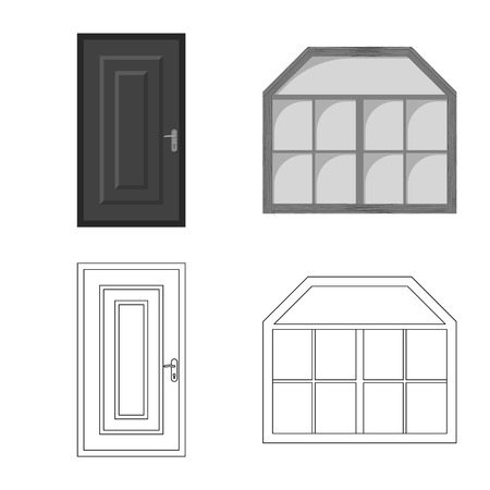 Vector illustration of door and front icon. Collection of door and wooden stock symbol for web. Stock Illustratie
