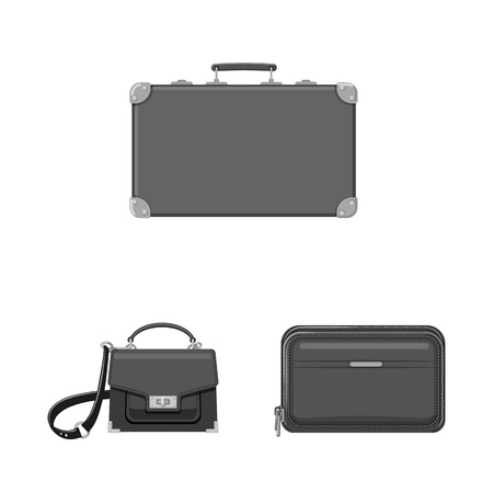 Vector illustration of suitcase and baggage icon. Collection of suitcase and journey stock vector illustration.