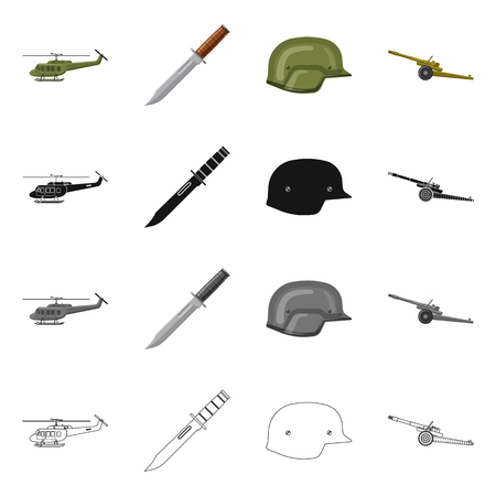 Isolated object of weapon and gun symbol. Collection of weapon and army vector icon for stock. Stock Vector - 117227146