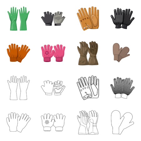 Vector illustration of glove and winter logo. Collection of glove and equipment stock symbol for web.