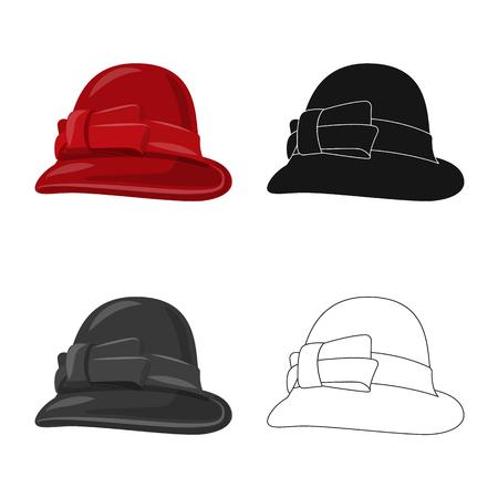 Vector illustration of headgear and cap logo. Set of headgear and accessory stock vector illustration.