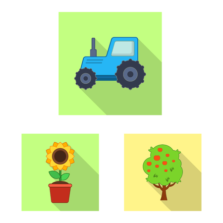 Isolated object of farm and agriculture logo. Collection of farm and plant stock symbol for web.  イラスト・ベクター素材