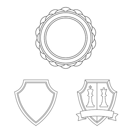 Vector design of emblem and badge icon. Set of emblem and sticker vector icon for stock. Stock Illustratie