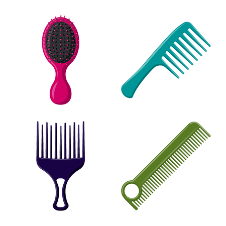 Vector illustration of brush and hair sign. Set of brush and hairbrush stock symbol for web.