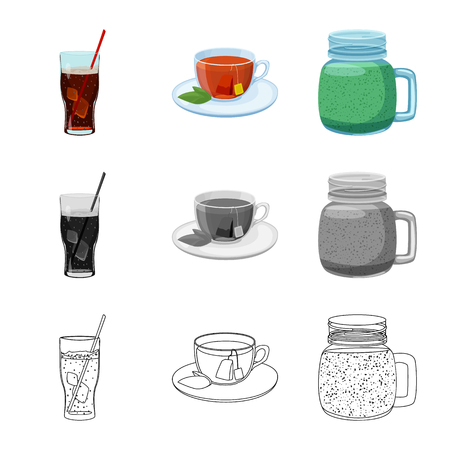Vector illustration of drink and bar logo. Set of drink and party stock symbol for web.