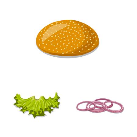Objeto aislado de icono de hamburguesa y sándwich. Conjunto de símbolo de stock de hamburguesa y rebanada para web.