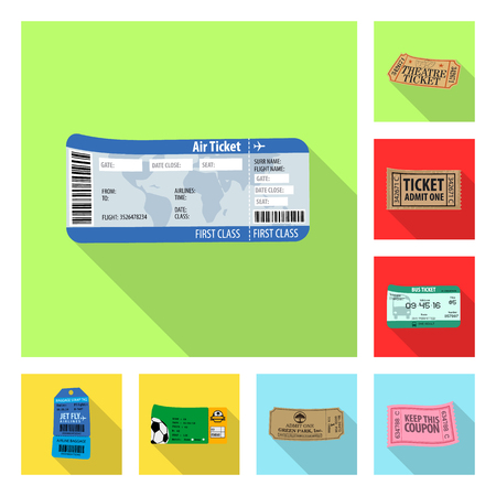 Vector illustration of ticket and admission symbol. Set of ticket and event stock vector illustration. Vector Illustration