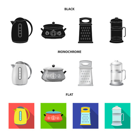 Vector illustration of kitchen and cook symbol. Collection of kitchen and appliance stock vector illustration. Stock Illustratie
