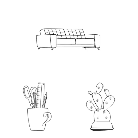 Vector design of furniture and work sign. Set of furniture and home stock symbol for web. 일러스트