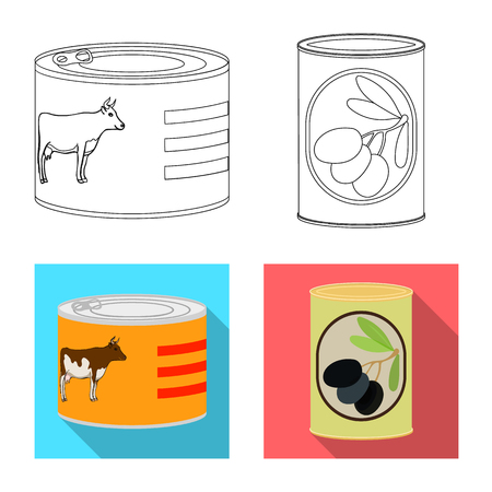 Vector design of can and food icon. Set of can and package stock vector illustration. Vettoriali