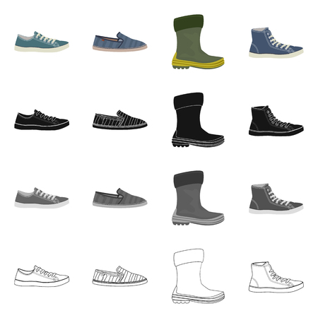 Vector design of shoe and footwear icon. Set of shoe and foot stock vector illustration.