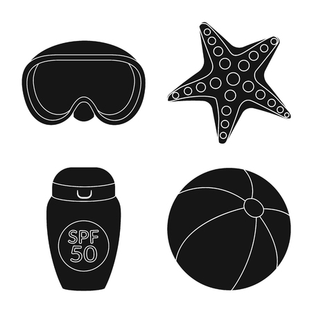 Vector design of equipment and swimming symbol. Collection of equipment and activity vector icon for stock.