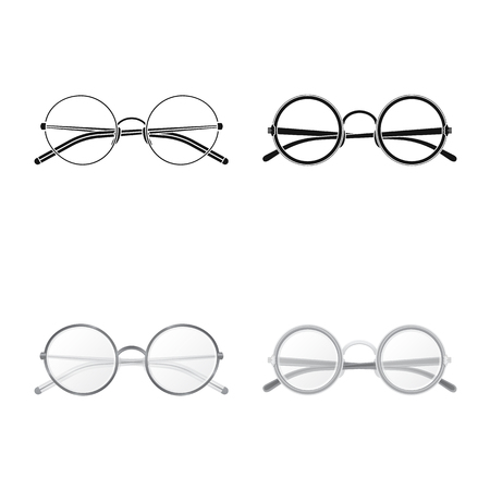 Vector illustration of glasses and frame sign. Collection of glasses and accessory stock symbol for web.