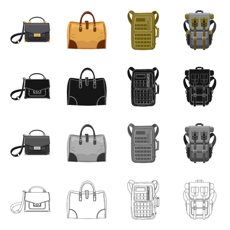 Vector illustration of suitcase and baggage icon. Set of suitcase and journey stock symbol for web. Vettoriali