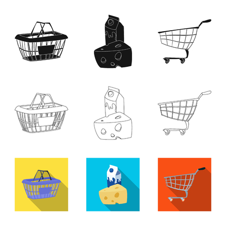 Isolated object of food and drink icon. Collection of food and store vector icon for stock. 矢量图像