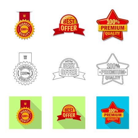 Vector design of emblem and badge sign. Set of emblem and sticker stock vector illustration.