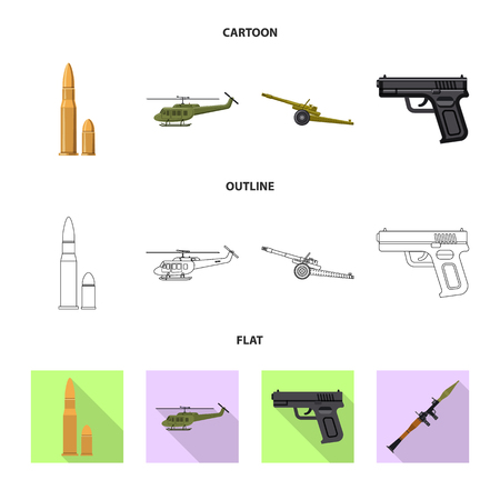 Isolated object of weapon and gun symbol. Set of weapon and army stock vector illustration. Illustration