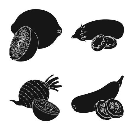Vector design of vegetable and fruit sign. Set of vegetable and vegetarian vector icon for stock. Ilustracja