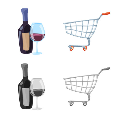Vector design of food and drink. Set of food and store stock vector illustration.