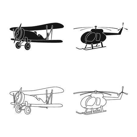 Vector design of plane and transport sign. Set of plane and sky stock symbol for web. Ilustração