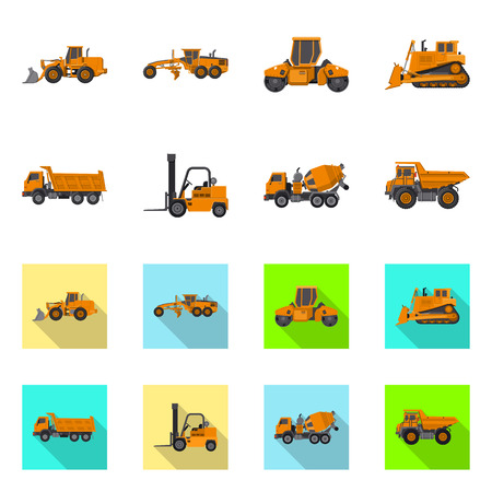 Isolated object of build and construction. Set of build and machinery vector icon for stock.