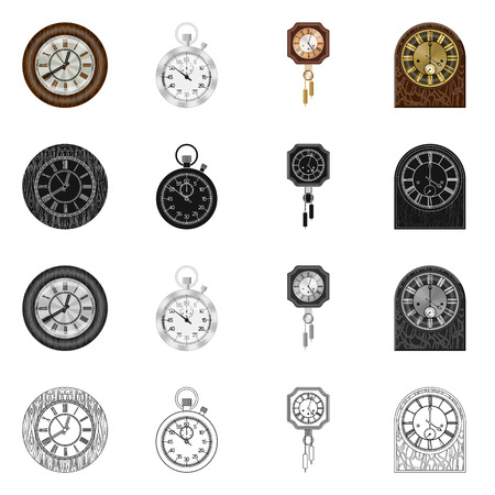 Isolated object of clock and time icon. Collection of clock and circle vector icon for stock.