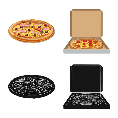 Vector design of pizza and food. Set of pizza and italy stock symbol for web.