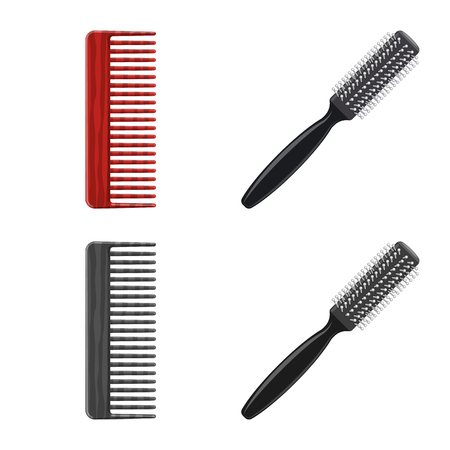 Vector design of brush and hair sign. Set of brush and hairbrush stock symbol for web.