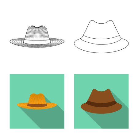 Vector design of headgear and cap. Collection of headgear and accessory stock vector illustration.