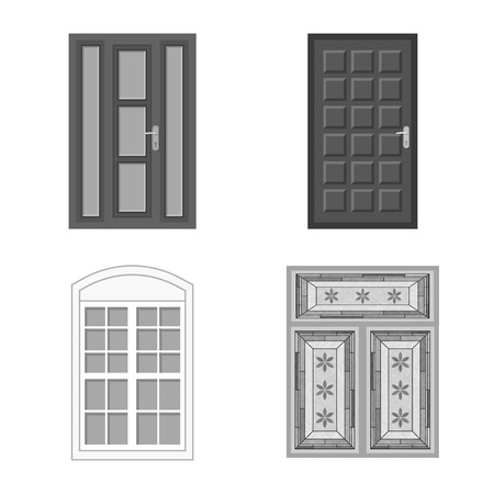 Vector illustration of door and front symbol. Set of door and wooden stock vector illustration.
