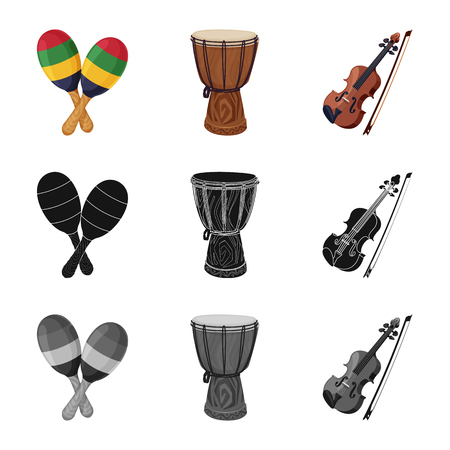 Isolated object of music and tune sign. Set of music and tool vector icon for stock. Banque d'images - 118074144