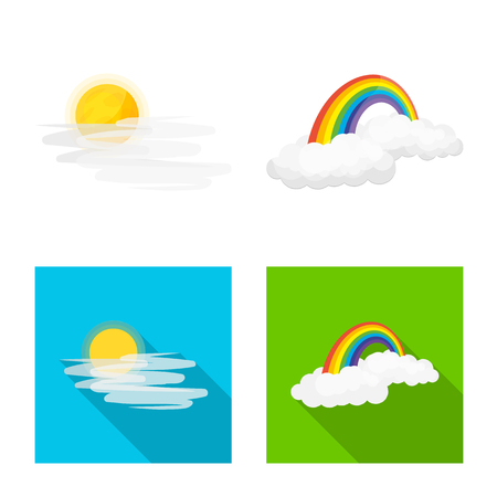 Vector illustration of weather and climate symbol. Collection of weather and cloud stock vector illustration. Ilustracja