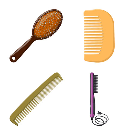 Isolated object of brush and hair symbol. Collection of brush and hairbrush stock vector illustration. Ilustração