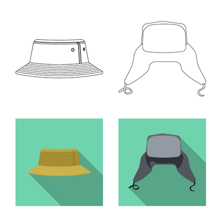 Isolated object of headgear and cap sign. Set of headgear and accessory stock vector illustration. Illustration