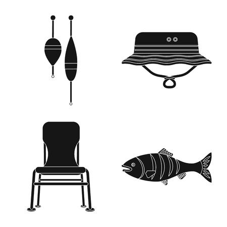 Vektorillustration des Fisches und des Fischenzeichens. Satz Fisch- und Ausrüstungsvektorikone für Vorrat.
