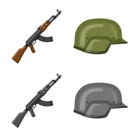 Isolated object of weapon and gun icon. Set of weapon and army stock vector illustration.
