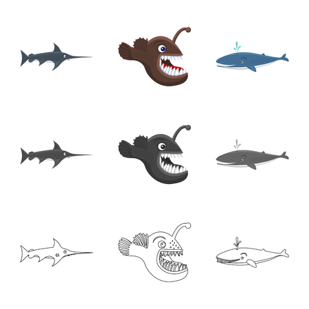 Vector design of sea and animal. Set of sea and marine stock symbol for web.