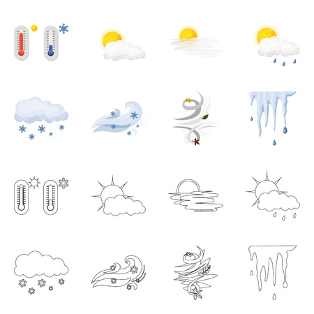 Vector design of weather and climate icon. Collection of weather and cloud stock symbol for web.