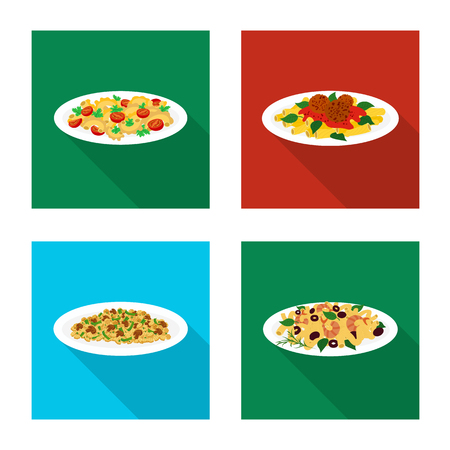 Vector design of pasta and carbohydrate sign. Collection of pasta and macaroni vector icon for stock.