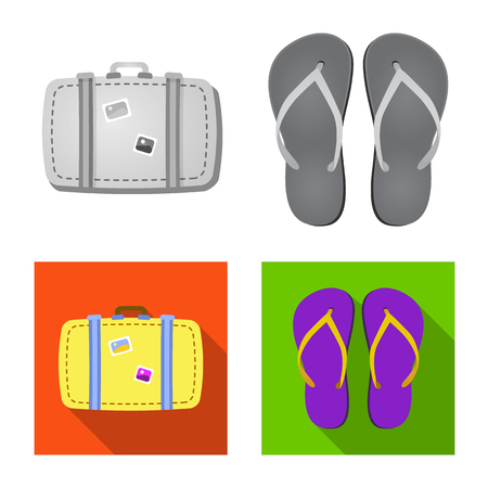Vector design of equipment and swimming icon. Collection of equipment and activity stock symbol for web.