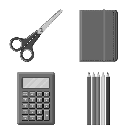 Vector illustration of office and supply icon. Set of office and school vector icon for stock.