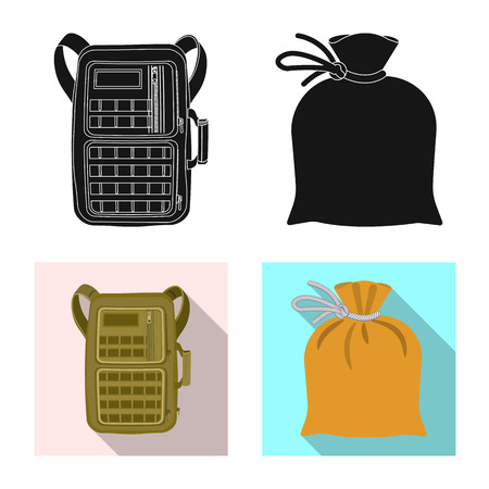 Vector design of suitcase and baggage. Set of suitcase and journey vector icon for stock. Vettoriali