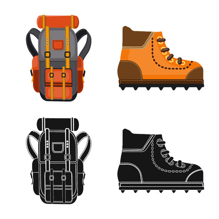Isolated object of mountaineering and peak icon. Set of mountaineering and camp vector icon for stock. 向量圖像