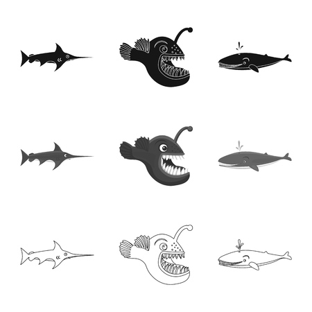 Isolated object of sea and animal sign. Set of sea and marine stock vector illustration. 向量圖像