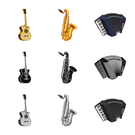 Isolated object of music and tune sign. Collection of music and tool vector icon for stock. Ilustrace