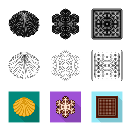 Isolated object of biscuit and bake icon. Collection of biscuit and chocolate vector icon for stock. Иллюстрация