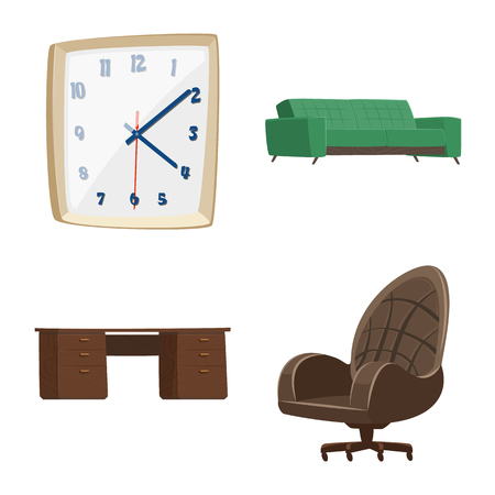Isolated object of furniture and work sign. Collection of furniture and home stock symbol for web.