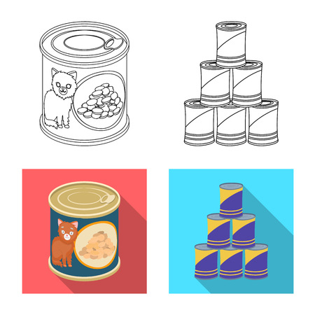 Vector illustration of can and food sign. Collection of can and package stock symbol for web.
