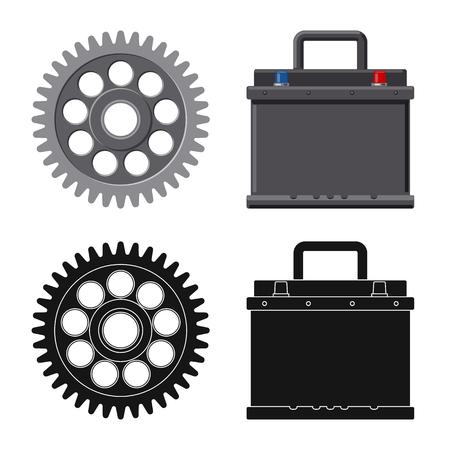 Diseño vectorial de icono de auto y pieza. Colección de ilustraciones vectoriales de stock de automóviles y automóviles. Ilustración de vector