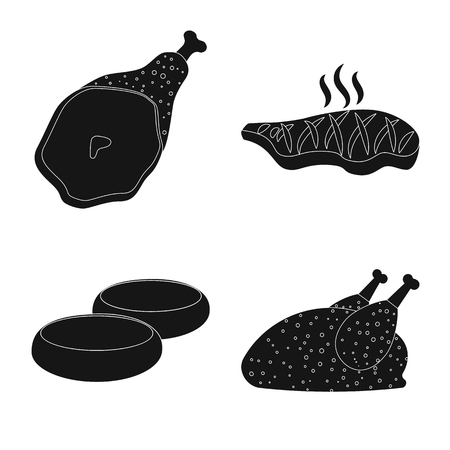 Vector illustration of meat and ham. Collection of meat and cooking stock vector illustration. Illustration